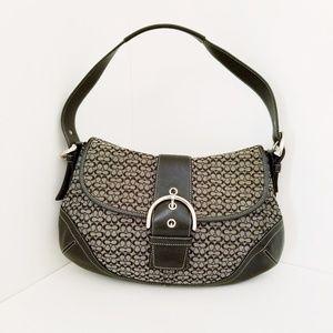 Vintage Coach Black leather Soho flap Hobo purse